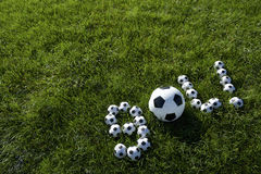 Het Braziliaanse Bericht van het Voetbaldoel dat met Voetballen wordt gemaakt Royalty-vrije Stock Afbeeldingen