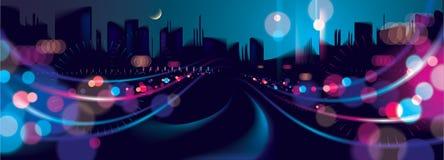 Het brede nachtleven van de panorama grote stad met straatlantaarns en bokeh blu royalty-vrije illustratie