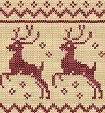Het breien van Kerstmis naadloos patroon met een hert Stock Afbeelding