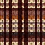 Het breien van naadloos patroon in bruine, beige en koffietinten Stock Foto