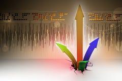 Het breken door aan succes als financiële grafiek Stock Foto's