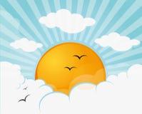 Het breken van de zon door de wolken Royalty-vrije Stock Foto