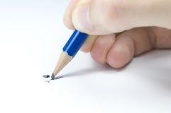 Het breken van het lood in potlood Stock Afbeelding
