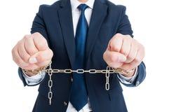 Het breken van het wetsconcept met corrupte geketende politicus in clos Royalty-vrije Stock Afbeeldingen
