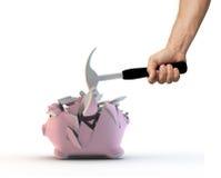 Het breken van Moneybox Stock Foto's