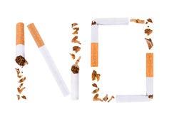 Het breken van sigaret, houdt met op rokend Stock Afbeeldingen