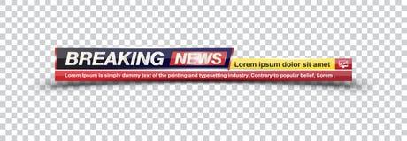 Het Brekende Nieuws van de malplaatjetitel op transparante achtergrond voor het kanaal van het schermtv Vlakke illustratie eps10 stock illustratie