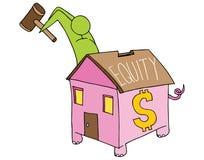 Het brekende Spaarvarken van de Huisgelijkheid Stock Fotografie