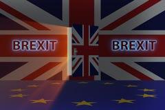 Het brexitconcept - het UK die ue weggaan - het 3d teruggeven Stock Fotografie