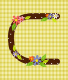 Het brievenc Heldere bloemenelement van kleurrijk alfabet binnen Royalty-vrije Stock Fotografie