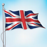 Het Britse Britse vlag golven Stock Afbeeldingen