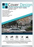 Het brochuremalplaatje voor jaarlijkse technologie bracht reposts, vectorontwerpa4 lay-out met ruimte voor tekst en foto'sblauw n vector illustratie