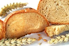 Het brood en de tarwe, sluiten omhoog Stock Foto