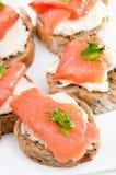 Het brood met zalm, sluit omhoog mening Royalty-vrije Stock Foto's