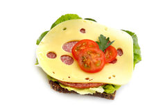 Het brood van de salami met kaas Stock Afbeelding