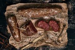 Het brood van het de jachtontbijt met worst Stock Fotografie