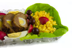 Het brood van het vlees met eieren en groenten Stock Afbeeldingen