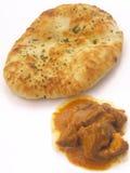 Het brood van Naan met kerrie Stock Foto's