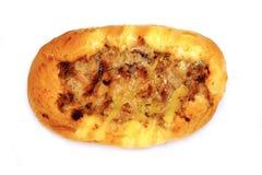 Het brood vult droog verscheurd varkensvlees en zoute eierdooier stock foto