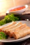 Het broodje en samosas van de lente Stock Afbeelding