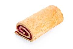 het broodje met geleikersen is geïsoleerd op witte dichte achtergrond, royalty-vrije stock fotografie