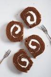 Het Broodje van de chocoladecake Stock Fotografie