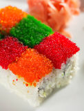 Het Broodje van de Regenboog van Tobiko Royalty-vrije Stock Afbeeldingen