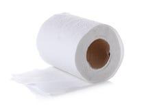 Het broodje van het toiletpapier dat op witte achtergrond wordt geïsoleerdr Stock Foto