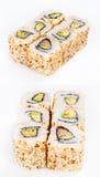 Het broodje van sushi met paling en avocado Royalty-vrije Stock Foto's