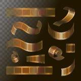 Het broodjes gouden kleur van de camerafilm, 35 mm, de pictogrammen van de festivalfilm, vector illustratie