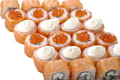 Het broodjesreeks van sushi die op wit wordt geïsoleerdv Royalty-vrije Stock Foto