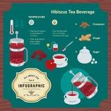 Het brouwen van Hibiscusdrank Infographic Stock Foto