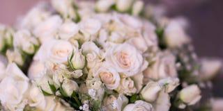 Het bruid` s boeket, de witte rozen, de tulpen, de gevoelige bloemen, het gebruik als achtergrond of de textuur, zachte pastelkle Stock Foto