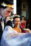 Het bruids paar bij verandert Stock Afbeelding