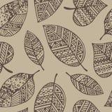 Het bruine naadloze patroon van lijn grafische bladeren Royalty-vrije Illustratie