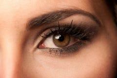 Het bruine oog van de vrouw met pastelkleurmake-up Stock Afbeelding