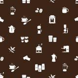 Het bruine patroon eps10 van koffiepictogrammen Royalty-vrije Stock Fotografie