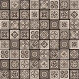 Het bruine Portugese Ceramische Bloemen Naadloze Patroon van de Mozaïektegel Vector Royalty-vrije Stock Afbeeldingen