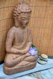 Het bruine standbeeld van Boedha met bloemen en zen stenen Stock Foto's