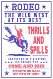 Het bucking wild paard van de Cowboy van de rodeo vector illustratie