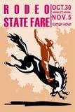 Het bucking wild paard van de Cowboy van de rodeo royalty-vrije illustratie