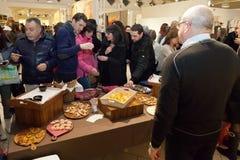Het buffet binnen Palazzettis-toonzaal na Giulio Masieris Audiopaint toont Royalty-vrije Stock Foto