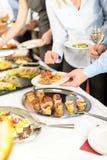 Het buffet van snacks op bedrijfvergadering royalty-vrije stock afbeelding