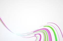 Het buigen van concept van de lijn het roze en groene technologie op witte achtergrond Stock Afbeelding