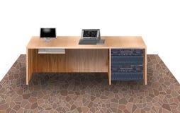 Het Bureau en de apparatuur van de Computer van het bureau Stock Foto