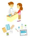 Het bureau van de apotheker en patiënt, medische uitrustingen royalty-vrije illustratie