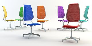 Het bureau van de kleur zit 3d voor stock illustratie
