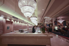 Het bureau van de ontvangst in het Vierkante hotel van de Unie Hilton Royalty-vrije Stock Afbeeldingen