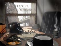 Het bureau van de privé-detective Stock Afbeeldingen