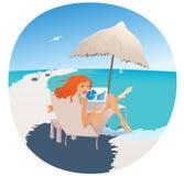 Het bureau van het strand/vakantiescène Royalty-vrije Stock Fotografie
